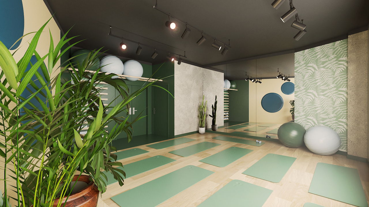 Yoga room at the Tulip Residences in Joinville-le-Pont